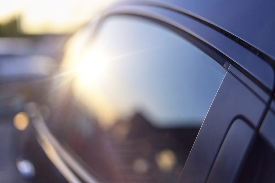 Sunshine reflection in the window of the car